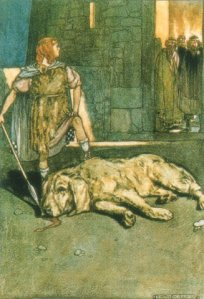 Cu Chulainn gets his first nickname by slaying the Hound.