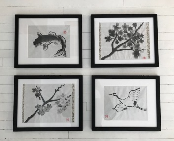 4 paintings sumi e